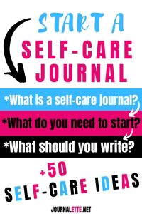 image of text start a self care journal