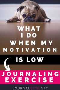 image of dog with text what I do when my motivation is low journaling exercise
