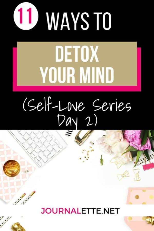 image of surface with ext box above with words 11 ways to detox your mind self love series day 2