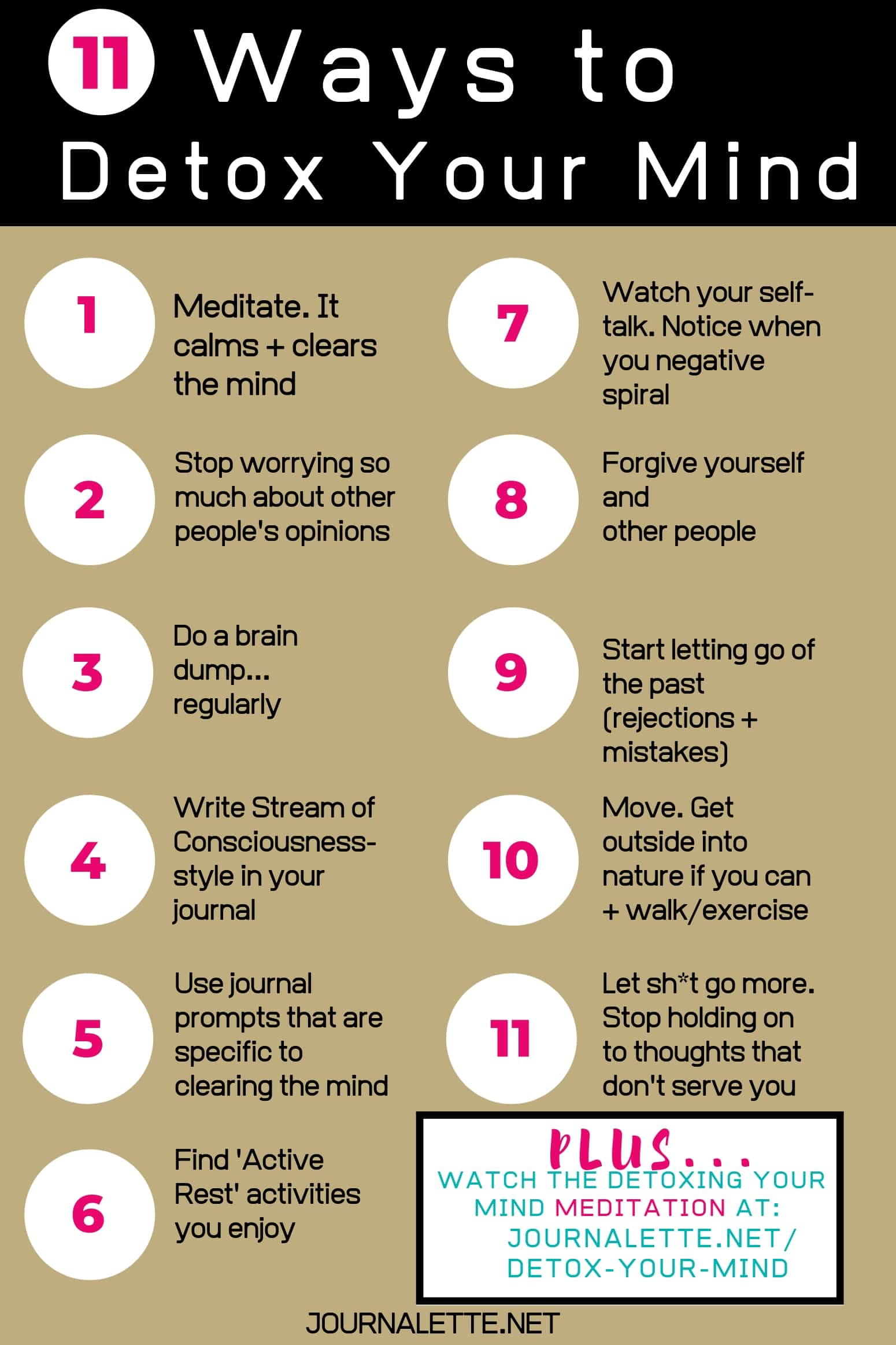 infographic image of 11 ways to detox your mind