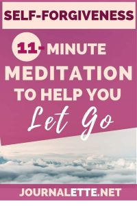 image of clouds with text overlay of self forgiveness 11 minute meditation to help you let go
