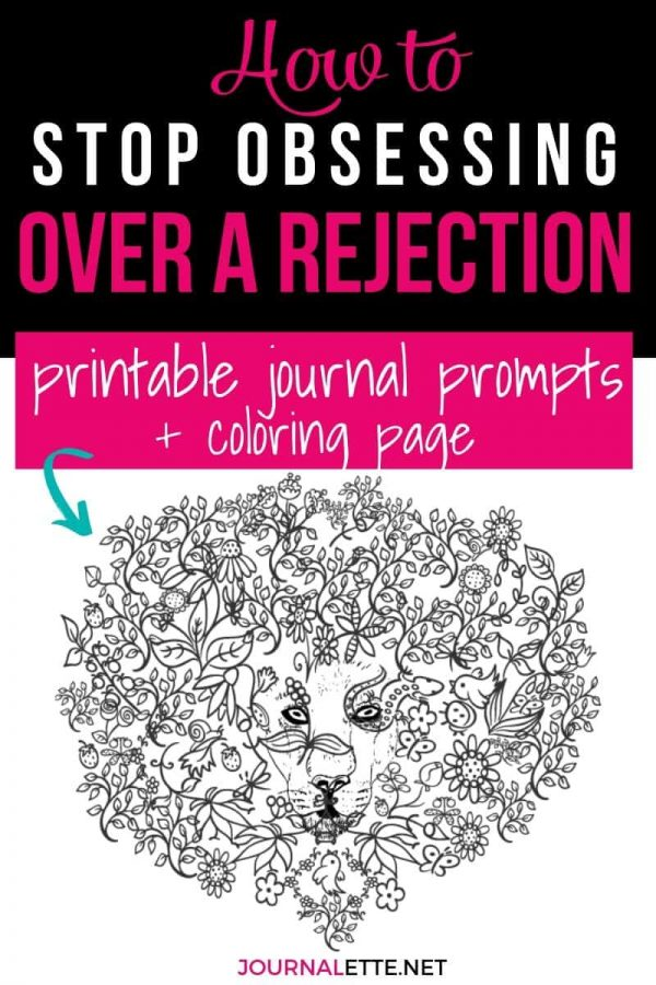 image of coloring page with text box above of how to stop obsessing over rejection