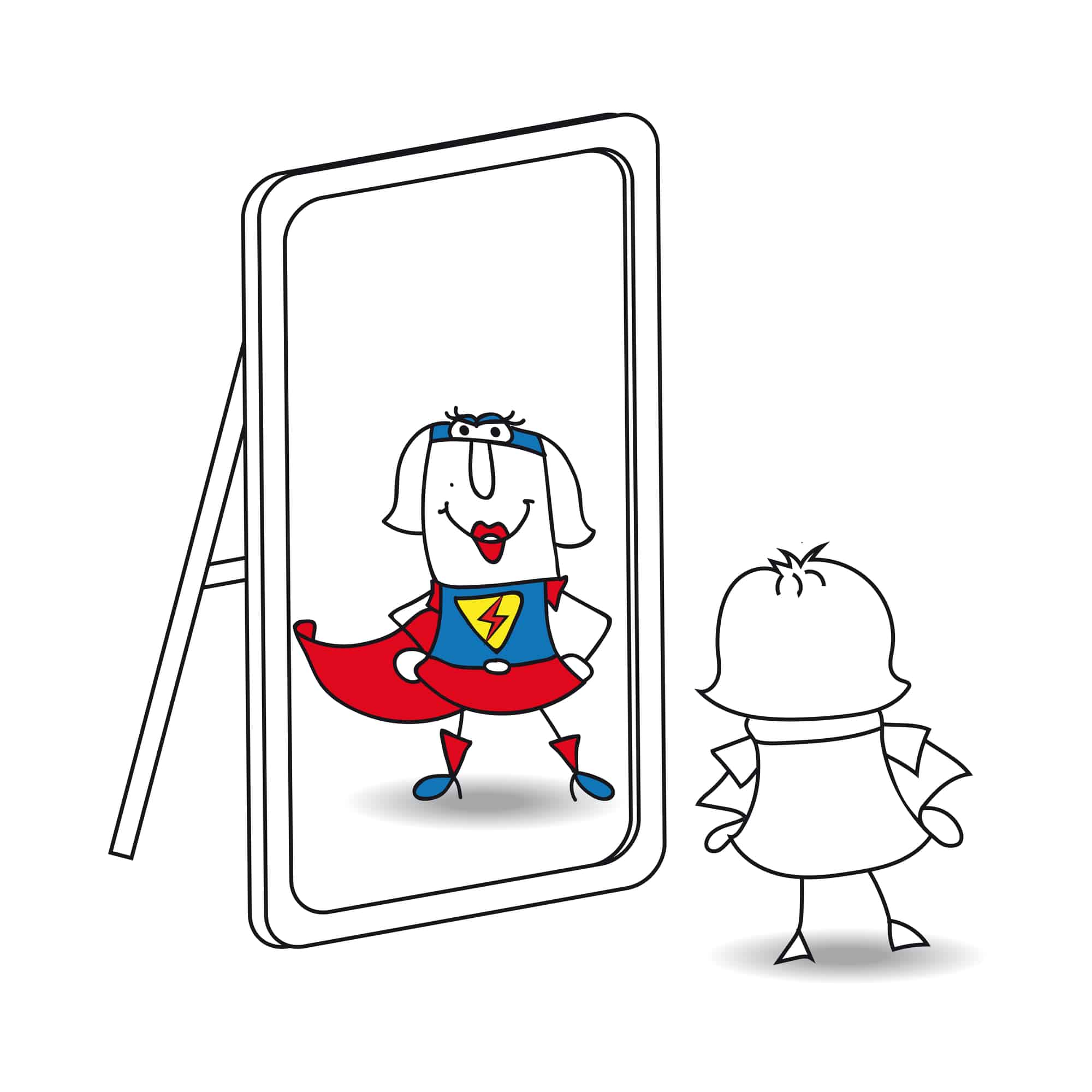 image of character in mirror for how to stop obsessing over a rejection